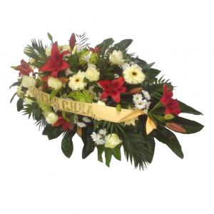 Centro difunto flor variada cinta incluida
