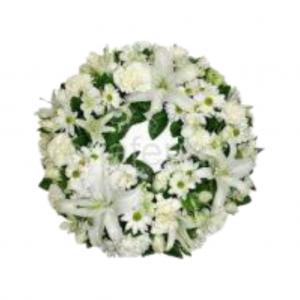 Corona pequeña flor variada cinta incluida - Blanca