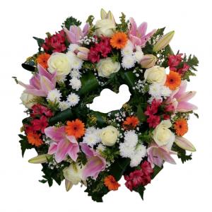 Corona pequeña flor variada cinta incluida - Colores