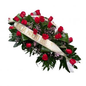 Centro Difuntos con rosas rojas