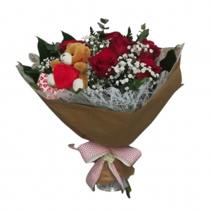 Ramo de 6 rosas rojas con peluche