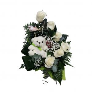 Centro de rosas con osito - color blanco