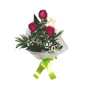 Arreglo de tres rosas colores a elegir con osito